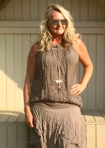 Pure Silk Vest Top in Mocha Made In Italy by Feathers Of Italy One Size - Feathers Of Italy