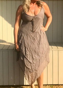 Cotton Hankercheif Sundress in Mocha Made In Italy By Feathers Of Italy - Feathers Of Italy