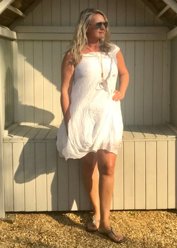 Pure Silk Puffball Sundress in White Made In Italy By Feathers Of Italy - Feathers Of Italy