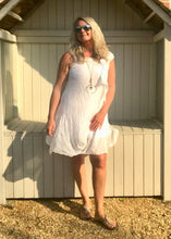 Load image into Gallery viewer, Pure Silk Puffball Sundress in White Made In Italy By Feathers Of Italy - Feathers Of Italy