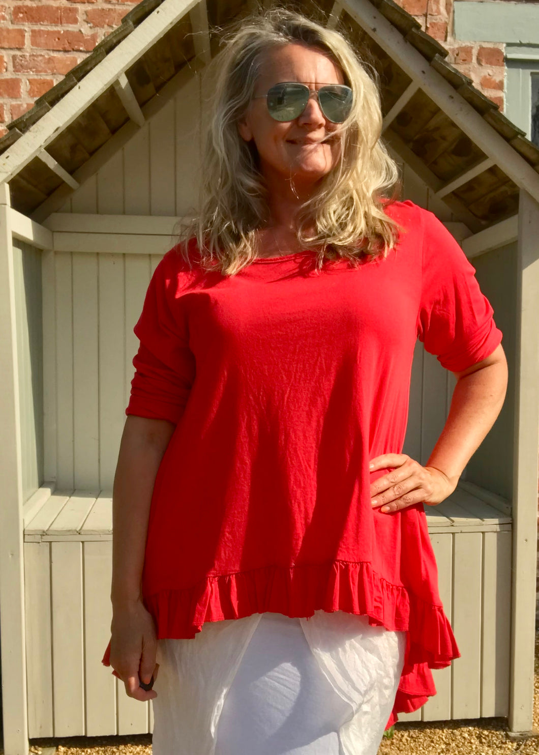 Frill Bottomed T Shirt Top 100% Cotton in Red Made In Italy By Feathers Of Italy One Size - Feathers Of Italy