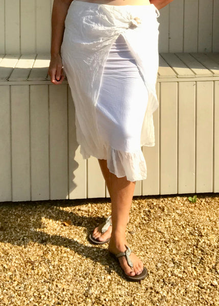 Silk and Jersey Easywear Elasticated Waist Skirt in White Made In Italy One Size
