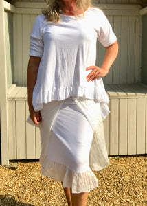 Silk and Jersey Easywear Elasticated Waist Skirt in White Made In Italy One Size - Feathers Of Italy