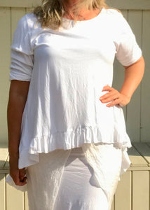 Frill Bottomed T Shirt Top 100% Cotton in White Made In Italy By Feathers Of Italy One Size - Feathers Of Italy