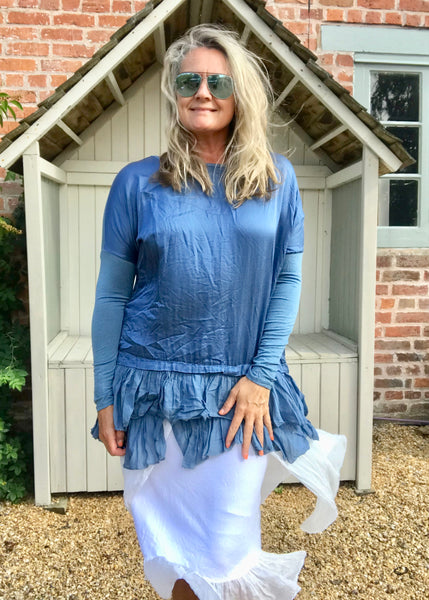Silk Ruffle Bottom Oversized Jersey Tunic  in Blue Made In Italy