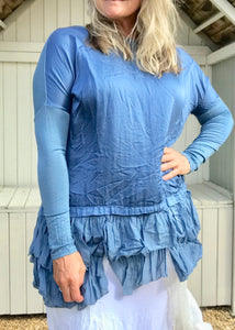 Silk Ruffle Bottom Oversized Jersey Tunic  in Blue Made In Italy - Feathers Of Italy