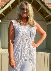 White Cotton Rouched Fronted Top Made In Italy - Feathers Of Italy
