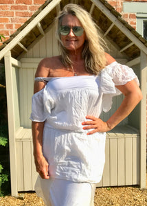 White Cotton and Silk Rouched Fronted Top Made In Italy