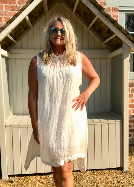 Pure Silk Halter Neck Sundress in Vanilla Made In Italy One Size - Feathers Of Italy