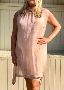 Pure Silk Halter Neck Sundress in Pink Made In Italy One Size - Feathers Of Italy