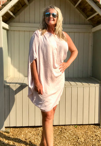 One Shoulder Dress Above Knee In Pink Made In Italy - Feathers Of Italy