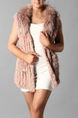 Fur Gilet in Dusky Pink - Feathers Of Italy