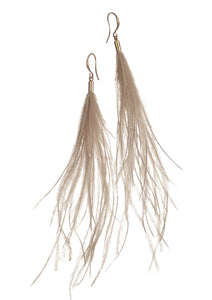 Birds of A Feather Earrings - Worn Gold / Natural - Feathers Of Italy