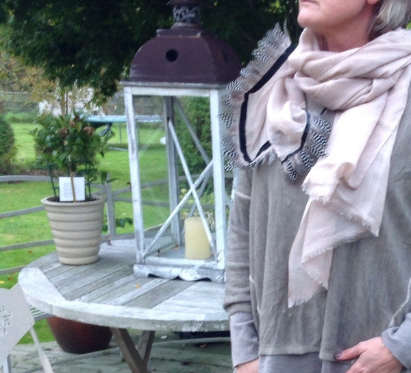 Guinea Fowl & Cashmere Scarf in Mink - Feathers Of Italy