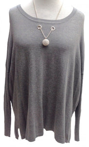 Glitterball Oversized Batwing Jumper in Grey Limited Edition Made in Italy - Feathers Of Italy