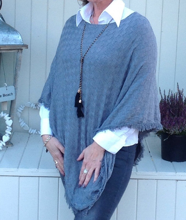 Verona Poncho in Grey - Feathers Of Italy