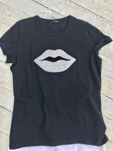 Diamonte lips super stretchy one size T-Shirt in White - Feathers Of Italy