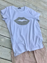 Load image into Gallery viewer, Diamonte lips super stretchy one size T-Shirt in White - Feathers Of Italy