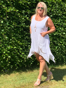 Garda Handkerchief Short Linen Dress in White One Size - Feathers Of Italy
