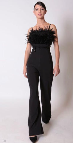Rinascimento Feather Jumpsuit - Black - Feathers Of Italy