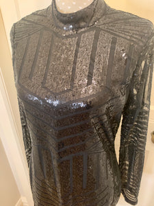 Black Sequined Backless Dress