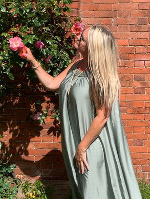 Milan Satin Summer Maxi Dress - Feathers Of Italy