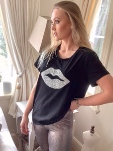 Diamonte lips super stretchy one size T-Shirt in Black - Feathers Of Italy