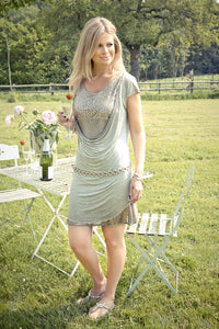 Florenza Summer Party Dress in Mocha Made In italy By Feathers Of Italy Medium Or Large - Feathers Of Italy