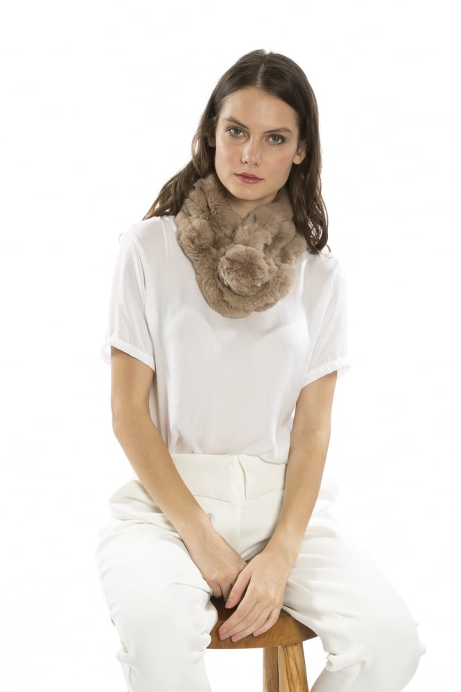 Pomarolo Fur Neck Scarf in Mocha - Feathers Of Italy