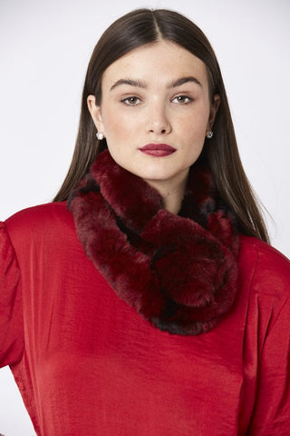 Pomarolo Fur Neck Scarf in Ruby - Feathers Of Italy