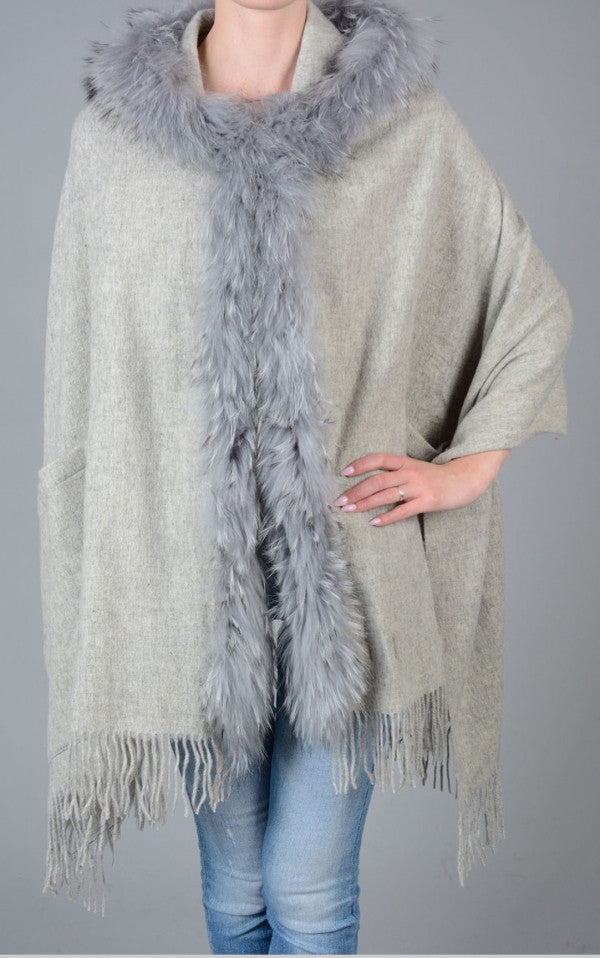 Lambswool Cape with Fur Trim Hood in Grey - Feathers Of Italy