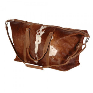 Large Hide Travel Bag in Brown & White - Feathers Of Italy