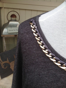Latina Top With Chain Detail Neckline in Charcoal Made In Italy By Feathers Of Italy One Size - Feathers Of Italy