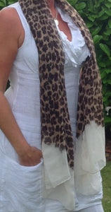 Leopard Print Scarf in Cream - Feathers Of Italy