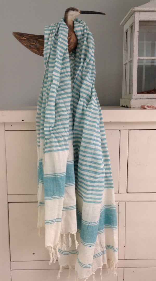 Linen Country Scarf in Aqua Stripe - Feathers Of Italy