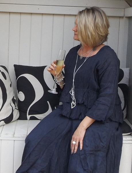 Linen Maxi Skirt in Navy - Feathers Of Italy