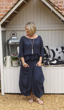 Load image into Gallery viewer, Linen Maxi Skirt in Navy - Feathers Of Italy