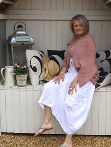 Linen Maxi Skirt in White - Feathers Of Italy