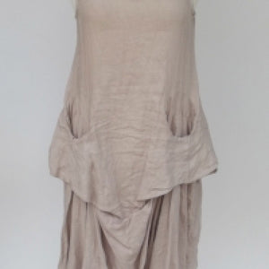 Linen Pocket Dress in Stone Made In Italy by Feathers Of Italy Small - Feathers Of Italy