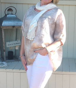 Lola Espeleta Vintage Style Bobble Scarf in Cream - Feathers Of Italy