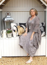 Load image into Gallery viewer, Long Linen Maxi Dress in Mocha - Feathers Of Italy