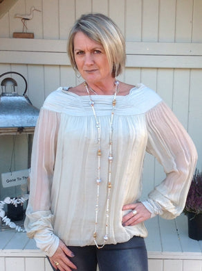 Luccia Silk Dress Top in Stone With Off The Shoulder Detail Made In Italy By Feathers Of Italy One Size - Feathers Of Italy