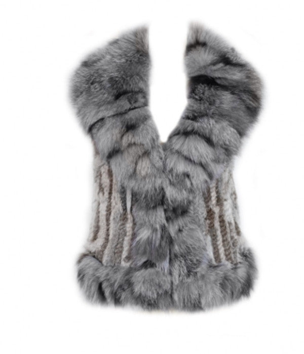 Luxury Fur Gilet in Grey - Feathers Of Italy