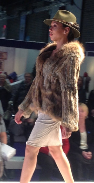 Scalloped Fur Jacket With Signature Collar in Mocha - Feathers Of Italy - Feathers Of Italy