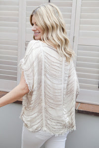 Milano Oversized Kaftan Top by Designer Kerrie Griffin in Stone By Feathers Of Italy - Feathers Of Italy