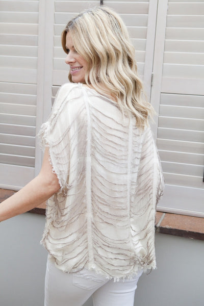 Milano Oversized Kaftan Top by Designer Kerrie Griffin-Rogers in Stone By Feathers Of Italy