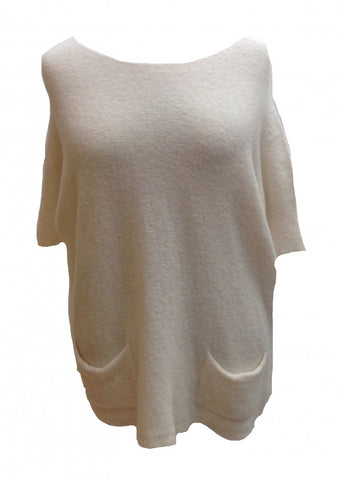 Mohair Tunic Top in Cream - Feathers Of Italy