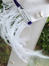 Load image into Gallery viewer, Naples Cashmere Scarf with Ostrich Trim in Cream - Feathers Of Italy