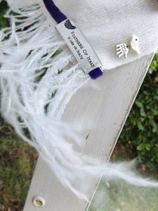 Naples Cashmere Scarf with Ostrich Trim in Cream - Feathers Of Italy