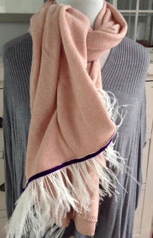 Naples Cashmere Scarf with Ostrich Trim in Pink - Feathers Of Italy